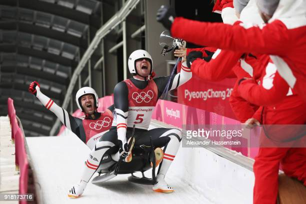 Georg Fischler and Peter Penz of Austria celebrate their the Luge Doubles run 2 on day five of the PyeongChang 2018 Winter Olympics at the Olympic...