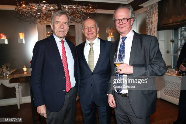 Georg Freiherr von Waldenfels Dr Stephan Galler and JanPeter Buening CEO BueningCompany during the UniCredit and GallerCompany business dinner on...