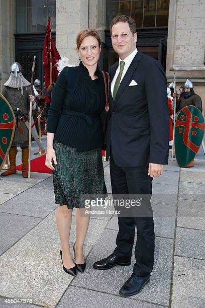 Georg Friedrich Ferdinand Prince of Prussia and his wife Princess Sophie of Prussia attend a reception at the Berlin State Parliament building after...