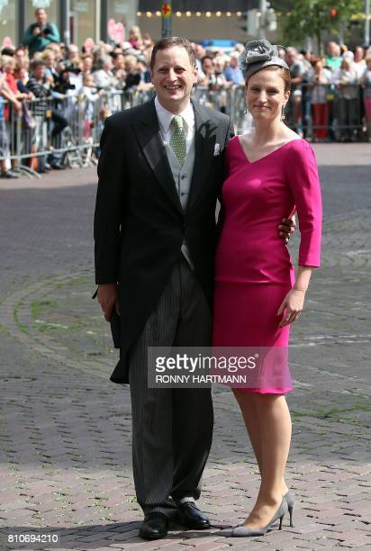 Georg Friedrich Ferdinand Prince of Prussia and his wife Princess Sophie of Prussia arrive for the church wedding of Prince Ernst August of Hanover...