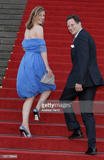 Georg Friedrich Ferdinand Prince of Prussia and Princess Sophie of Prussia arrive for a charity concert at the Gendarmenmarkt concert hall on August...