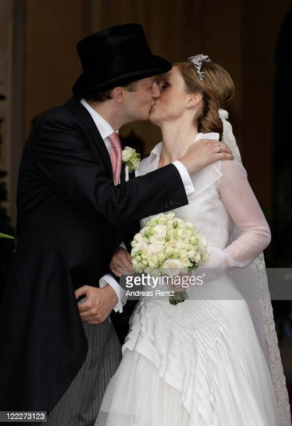 Georg Friedrich Ferdinand Prince of Prussia and Princess Sophie of Prussia leave their religious wedding ceremony in the Friedenskirche Potsdam on...