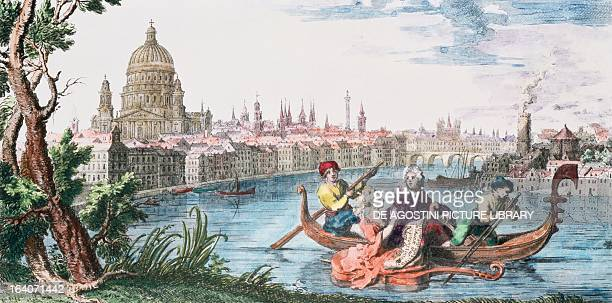 Georg Friedrich Handel in a gondola on the Thames, illustration for Water Music, 18th century.