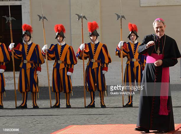Georg Ganswein the Pope's private secretary waits for the Prince Albert of Monaco and Charlene at the Vatican on January 12 2013 Photo by 2430/Gamma