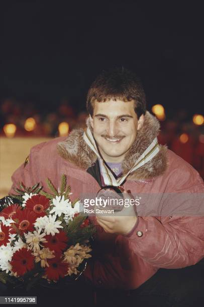 Georg Hackl of Germany celebrates his gold medal after winning the Men's singles luge competition on 10 February 1992 at the XVI Olympic Winter Games...