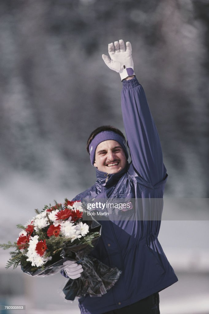 Georg Hackl of Germany celebrates his gold medal after winning the Men's singles luge competition on 10 February 1992 at the XVI Olympic Winter Games at the La Plagne bobsleigh, luge, and skeleton track, Albertville, France.