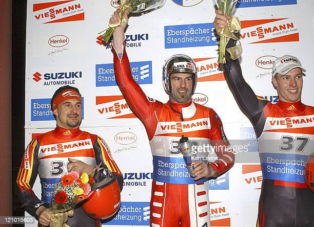 Georg Hackl of Germany finished second to 2005 Luge World Champions Armin Zoggeler of Italy and David Moeller also of Germany finished third at the...