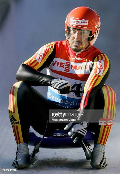 Georg Hackl of Germany reacts during the Viessmann Men Luge World Cup on November 20, 2005 in Cesana Pariol near Turin, Italy. The competition will...