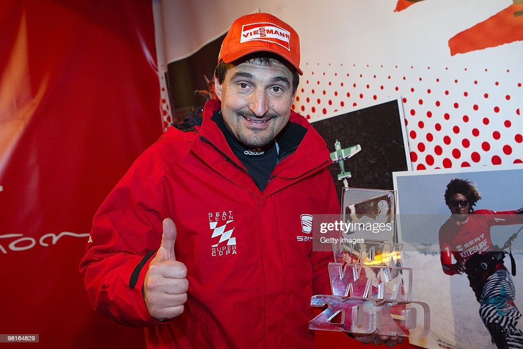 Georg Hackl shows his trophy after the 'TV Total Wok WM 2010' on March 19, 2010 in Oberhof, Germany.