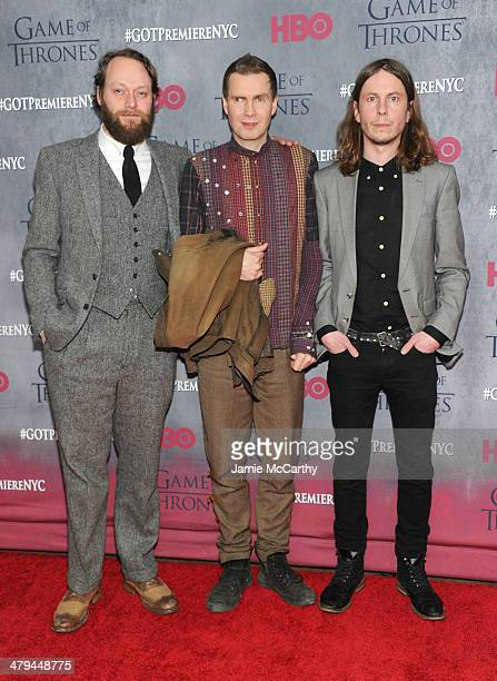 Georg Holm Jon Thos Birgisson and Orri Pall Dyrason of Sigur Ros attend the Game Of Thrones Season 4 New York premiere at Avery Fisher Hall Lincoln...