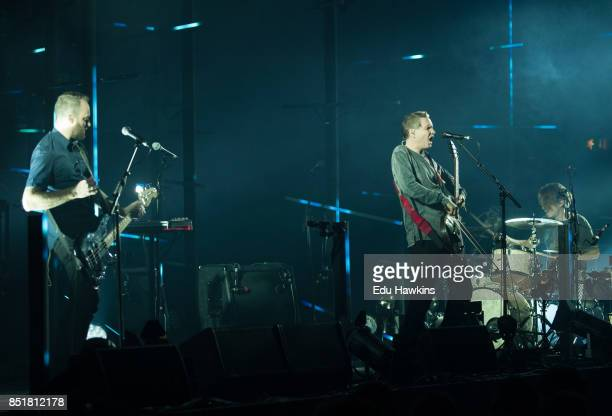 Georg Holm Jonsi Birgisson and Orri Pall Dyrason of Sigur Ros perform live on stage at Eventim Apollo on September 22 2017 in London England
