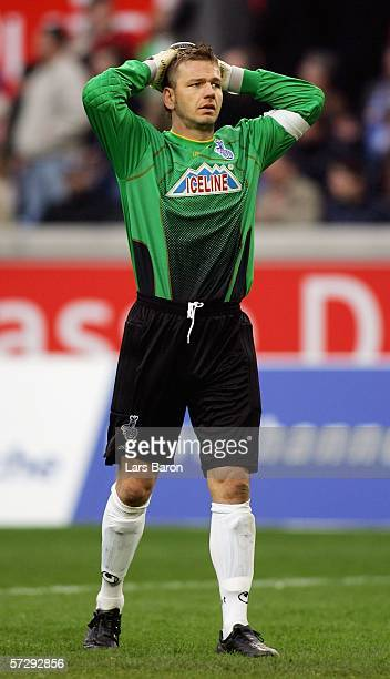 Georg Koch of Duisburg looks dejected after the Bundesliga match between MSV Duisburg and FC Schalke 04 at the MSV Arena on April 9, 2006 in...