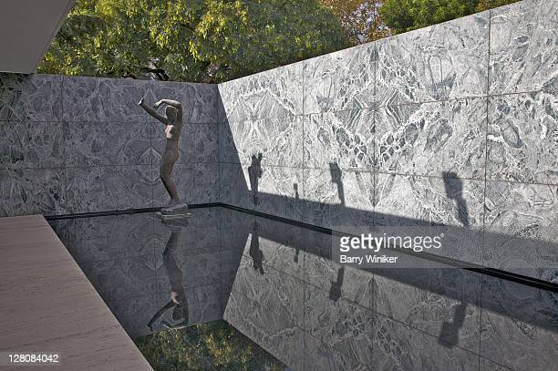 georg kolbe's sculpture, morning, in the mies van der rohe pavilion, the german pavilion, built 1929 for the barcelona international exposition, rebuilt 198386, barcelona, catalonia, spain - 1920 1929 stock pictures, royalty-free photos & images