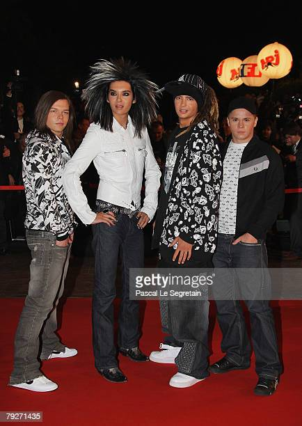 Georg Listing Bill Kaulitz Tom Kaulitz and Gustav Schaefer of Tokio Hotel attend the 2008 NRJ Music Awards held at the Palais des Festivals on...