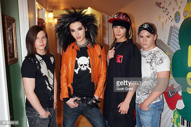Georg Listing Bill Kaulitz Tom Kaulitz and Gustav Schaefer of Tokio Hotel pose for a photo backstage during MTV's Total Request Live at the MTV Times...