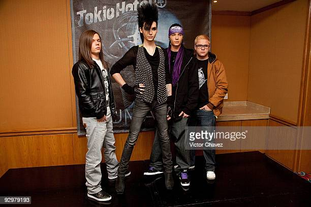 Georg Listing Bill Kaulitz Tom Kaulitz and Gustav Schafer of Tokyo Hotel attends the Tokyo Hotel's Humanoid album launch press conference and...