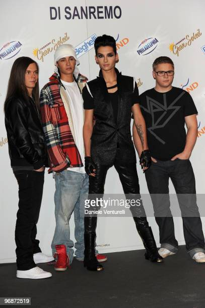 Georg Listing Tom Kaulitz Bill Kaulitz and Gustav Schafer members of the German music group Tokio Hotelattends the 60th San Remo Song Festival 2010...