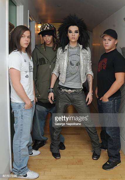 Georg Listing Tom Kaulitz Bill Kaulitz and Gustav Schfer of Tokio Hotel visit MTV's TRL at the MTV studios in Times Square on August 5 2008 in New...