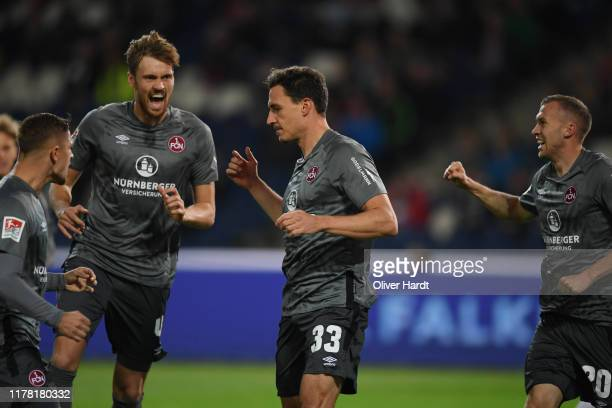 Georg Margreitter of 1. FC Nuernberg celebrates after scoring his team's first goal during the Second Bundesliga match between Hannover 96 and 1. FC...