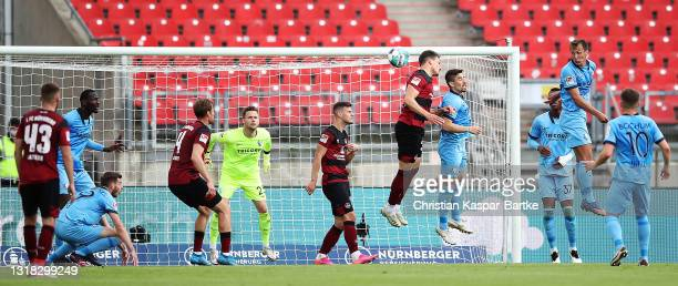 Georg Margreitter of 1.FC Nuernberg scores their team's first goal during the Second Bundesliga match between 1. FC Nürnberg and VfL Bochum 1848 at...