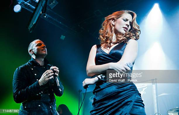 Georg Neuhauser of Serenity and Charlotte Wessels of Delain perform at L'Alhambra on May 21 2011 in Paris France