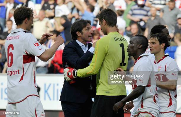 Georg Niedermeier headcoach Bruno Labbadia goalkeeper Sven Ulreich Arthur Boka and Tamas Hajnal of Stuttgart celebrate after winning the Bundesliga...