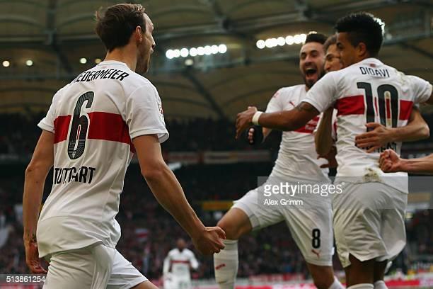 Georg Niedermeier of Stuttgart celebrates his team's first goal with team mates during the Bundesliga match between VfB Stuttgart and 1899 Hoffenheim...