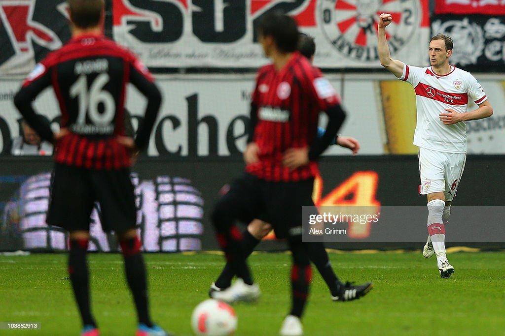 Georg Niedermeier (R) of Stuttgart celebrates his team's second goal during the Bundesliga match between Eintracht Frankfurt and VfB Stuttgart at Commerzbank-Arena on March 17, 2013 in Frankfurt am Main, Germany.
