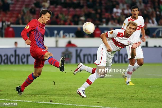 Georg Niedermeier of Stuttgart scores his team's second goal during the UEFA Europa League group E match between VfB Stuttgart and FC Steaua...