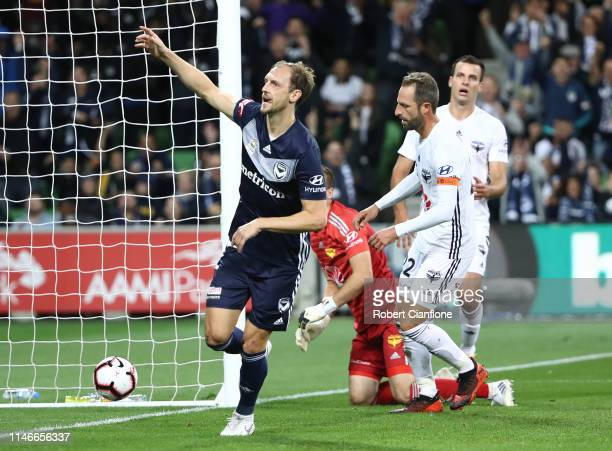 Georg Niedermeier of the Victory celebrates after scoring a goal during the ALeague Elimination Final match between Melbourne Victory and the...