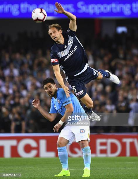 Georg Niedermeier of the Victory heads the ball during the round one ALeague match between Melbourne Victory and Melbourne City at Marvel Stadium on...