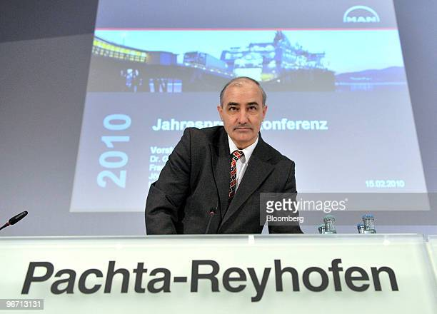 Georg Pachta Reyhofen chief executive officer of MAN SE arrives for the company's news conference in Munich Germany on Monday Feb 15 2010 MAN SE...