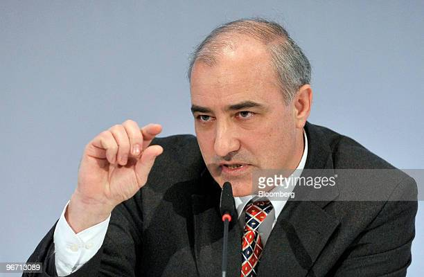 Georg Pachta Reyhofen chief executive officer of MAN SE gestures while speaking during the company's news conference in Munich Germany on Monday Feb...