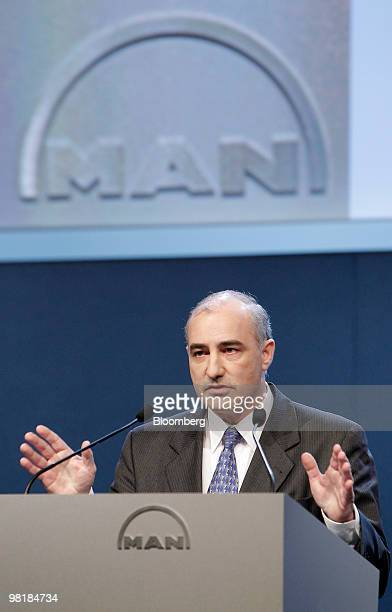 Georg Pachta Reyhofen, chief executive officer of MAN SE, speaks at the company's annual shareholders' meeting in Munich, Germany, on Thursday, April...