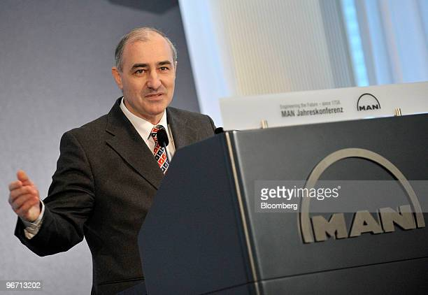 Georg Pachta Reyhofen chief executive officer of MAN SE speaks during the company's news conference in Munich Germany on Monday Feb 15 2010 MAN SE...