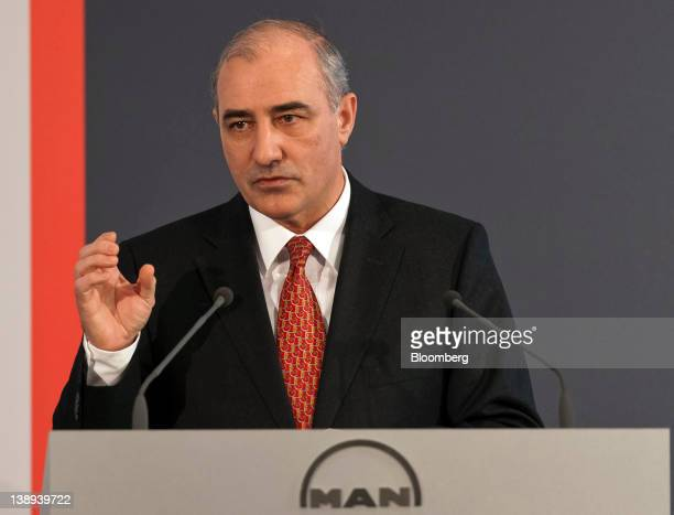Georg PachtaReyhofen chief executive officer of MAN SE gestures during a news conference in Munich Germany on Tuesday Feb 14 2012 MAN SE the German...