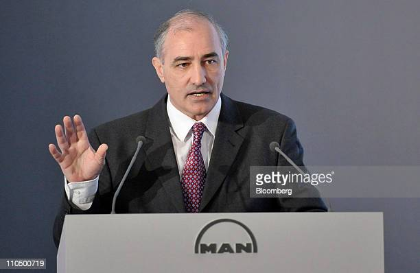 Georg PachtaReyhofen chief executive officer of MAN SE speaks at the company's news conference in Munich Germany on Monday March 21 2011 MAN SE views...