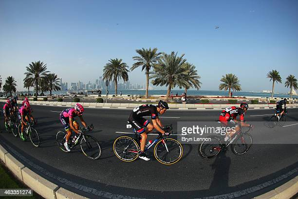 Georg Preidler of Austria and Team GiantAlpecin rides in the peloton during stage six of the 2015 Tour of Qatar a 1135km road stage from Sealine...