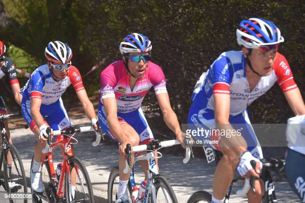 Georg Preidler of Austria and Team Groupama FDJ / Thibaut Pinot of France and Team Groupama FDJ Purple leaders jersey / Sebastien Reichenbach of...