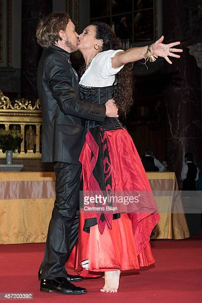 Georg Preusse and Barbara Wussow pose on stage after rehearsals for 'Berliner Jedermann' at Berliner Dom on October 14 2014 in Berlin Germany