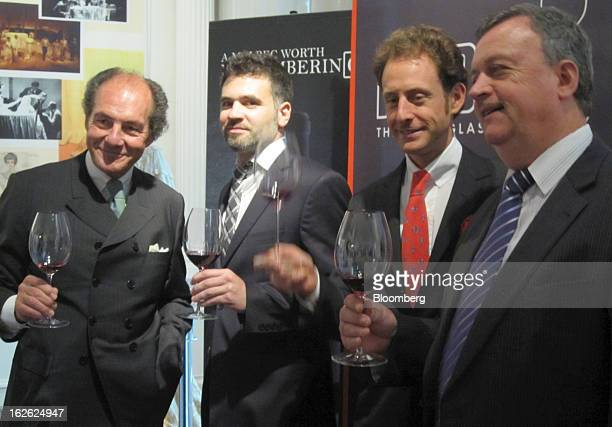 Georg Riedel head of Riedel Glas Austria from left Federico Lleonart brand ambassador of Graffigna Wines Maximilian Riedel chief executive offier of...