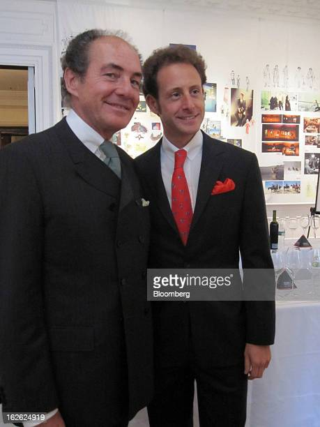 Georg Riedel head of Riedel Glas Austria left and his son Maximilian Riedel chief executive offier of Riedel Crystal pose for a portrait at a taste...