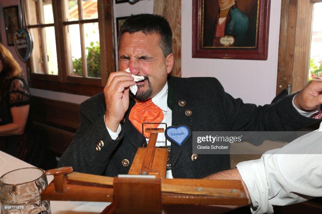 Georg Schorsch Hackl Snuffs Smokeless Tobacco With A Snuff Machine