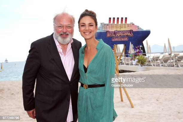Georg Seitz Editor of BUNTE and Janina Uhse at the Magnum press photo call during the 71st annual Cannes Film Festival at Carlton Beach on May 10...