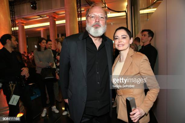 Georg Seitz Rose McGowan during the DLD Impact Award by DLD Munich 2018 at Alte Bayerische Staatsbank on January 21 2018 in Munich Germany The DLD...