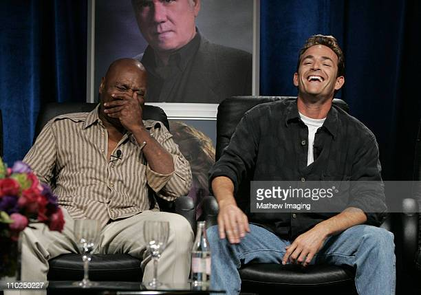 Georg Stanford Brown and Luke Perry during 2005 TCA Hallmark Channel Presentation at The Beverly Hilton in Beverly Hills California United States