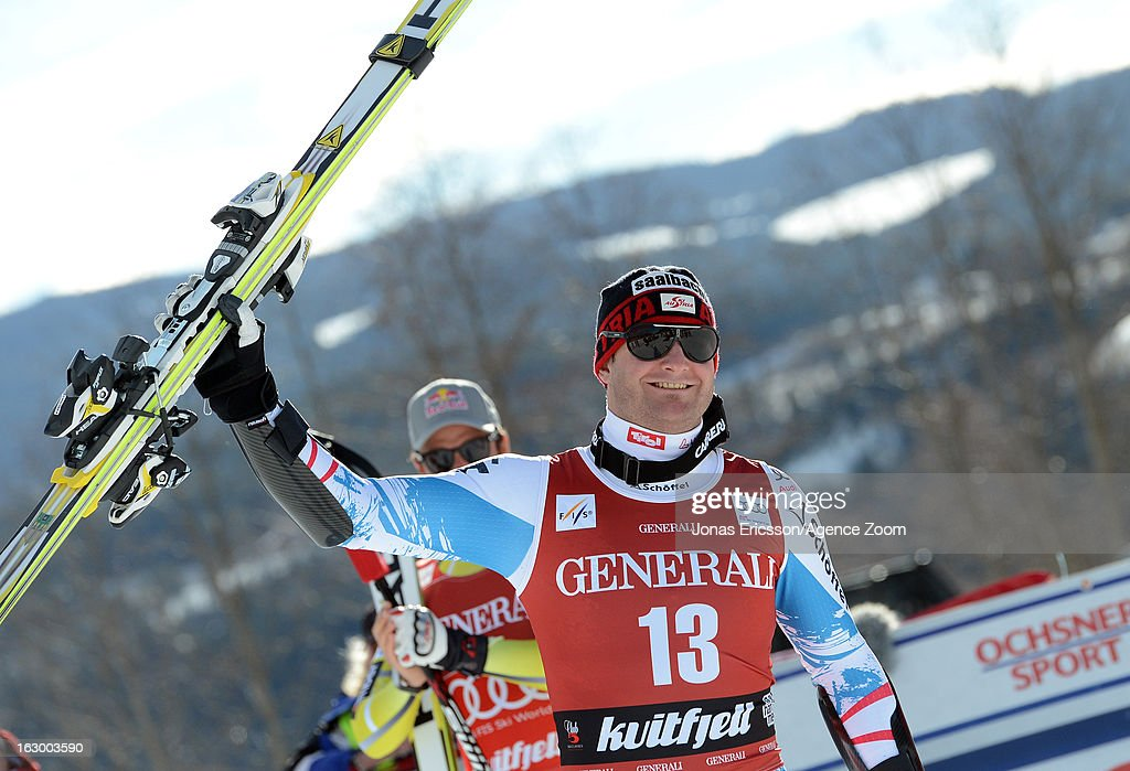 Georg Streitberger of Austria takes 2nd place during the Audi FIS Alpine Ski World Cup Men's SuperG on March 3, 2013 in Kvitfjell, Norway.