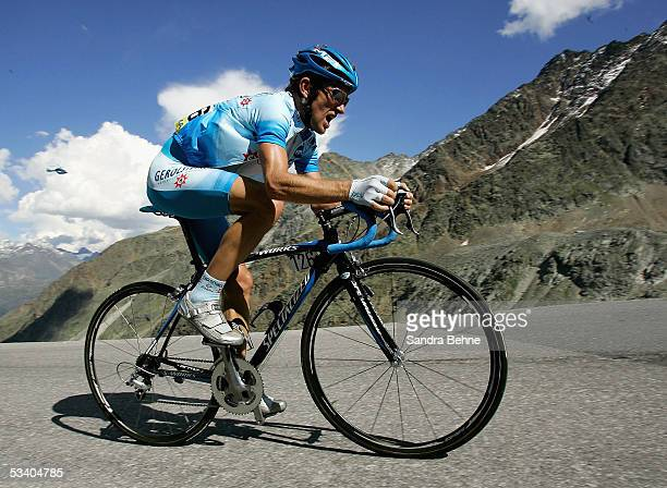 Georg Totschnig of Austria and Team Gerolsteiner rides a mountian climb uring the third stage of the Deutschland Tour on August 18, 2005 from...