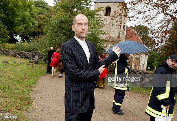 Georg Uecker arrives for the church wedding of Barbara Schoeneberger and Maximilian von Schierstaedt at the church of Rambow on October 3 2009 in...