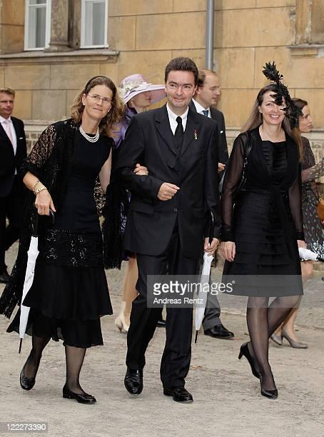 Georg von Habsburg Lothringen with wife Eilika Habsburg Lothringen Duchess of Oldenburg and Gabriela von Habsburg attend the religious wedding...